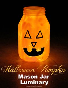 Learn how to make this super BRIGHT Mason Jar Luminary for Halloween. A couple of tricks and it's luminous!!