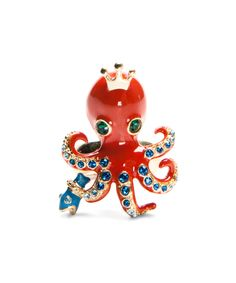 Betsey Johnson Octopus Ring #BetseyJohnson #Jewelry #Octopus #SeaLIfe #Coral #Aqua #Gold #Rings