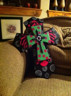 Large Black, Hot Pink and Mint Green Wood Cross