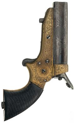 Engraved and Gold Finished Tipping & Lawden Sharps Patent 4-Barrel Derringer Pistol, 1860's.