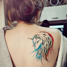 New fashion women men cool sexy body tattoo stickers colorful elegant unicorn water proof temporary tattoo sticker free shipping $10.60