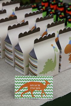 Good idea - make dinosaur snack packs for each kid to take, filled with food, to eat during the dinosaur movie!