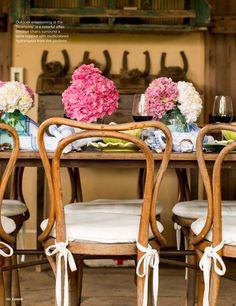 Pink hydrangea centerpieces.