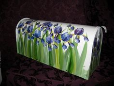 Purple Iris amid Green foliage on a Hand Painted Mailbox