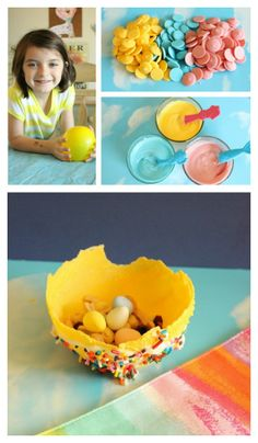 {Easter Candy Bowls} Here's a fun activity to do with the kids for Easter