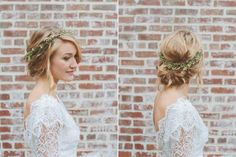 flower crown + updo.