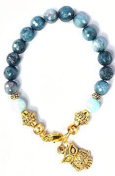 The Gold Owl Bracelet in Blue Jade by John Bole