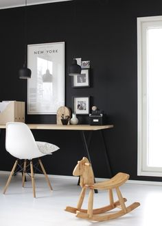 BW black and white interior design desk office workspace contrast chair