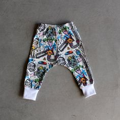 Illustrated Baby Harem Pants by Artist Yai Cecream Organic Cotton Digital Print Colorful with White Ribbing Cuffs for Cool Baby and Toddler