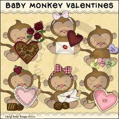 Baby Monkey Valentines 1 - Whimsical Clip Art by Cheryl Seslar