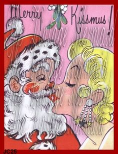 Merry Kissmus Christmas Fabric Block Vintage by mermaidfabricshop