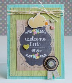 Welcome Little One - Scrapbook.com - Make a simple layered handmade card for a baby shower. Can later be framed as nursery decor!