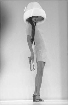 Ribbed knit dress with hairdryer hat by Byron Lars, American designer