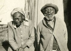 Old African-American sharecroppers couple, Oklahoma, 1914.  How unusual to see an old photo where we are laughing!