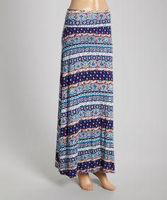 Navy & Turquoise Melange Maxi Skirt