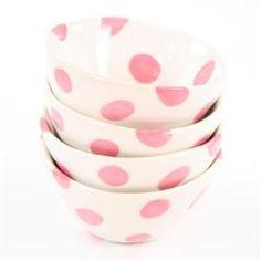 Pink polka dot ice cream bowls