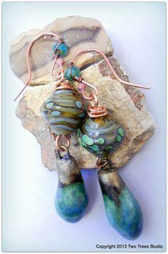 Blue-green-aqua artisan earrings, lampwork glass, glazed porcelain, by TwoTreesStudio, $35.00.