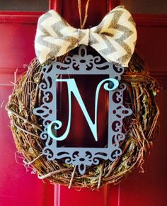 14 monogrammed grapevine door wreath with gray by BEaBLESSING12, $40.00