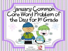 1st Grade Common Core Word Problem of the Day- January product from 2-Brainy-Apples on TeachersNotebook.com