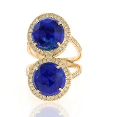 Designer Lapis Gemstone Gold Engagement Ring    18k Gold Jewelry    Gross weight(gms): 10.82    Gold weight(gms): 8.85    Diamond weight(cts): 0.74    Colourstone weight(cts): 9.10
