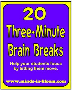 Quick Brain Breaks to use throughout the day. http://www.minds-in-bloom.com/2012/04/20-three-minute-brain-breaks.html