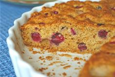 Pear and Cranberry Cornmeal Cake