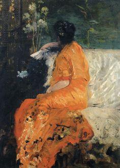 Giuseppe De Nittis (Italian, Impressionism, Macchiaioli, 1846–1884): The Orange Kimono (Il kimono color arancio), 1883-1884. Oil on canvas, 42 x 31 cm. Private Collection.