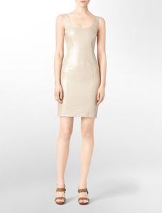 CK Dress in metallic linen. Nice dress but we all know what happens when you wear linen...