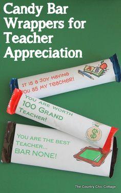 Free Printable Candy Bar Wrappers for Teacher Appreciation Day ! by @Jess Pearl Liu Kielman         {Mom 4 Real}