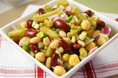 Old-fashioned Three Bean Salad using ….more beans!   I <3 this!