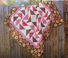 "PINK FLYING GEESE  Lap Quilt  Hand Quilted  55"" x 55""  QUILTS BY MARISELA."