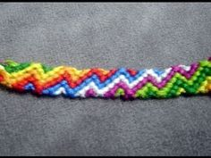 ► Friendship Bracelet Tutorial 25 - Intermediate - The Zig Zagging Rainbow