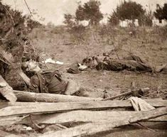 Civil War Dead Soldiers- a rare image of Spotsylvania Court House, Virginia. Bodies of Confederate soldiers near Mrs. Alsop's house. It was taken in 1864 by O'Sullivan, Timothy H., 1840-1882.