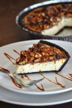 Turtle Cheesecake made with Greek Yogurt.