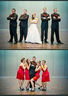 Love this idea..one photo with the bride and grooms men and one with the groom and brides maids! funny!