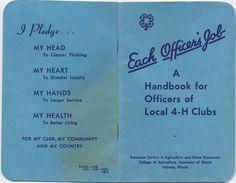4-H Officer's Handbook, 1952 club activ, 100 year, 4h club