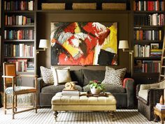 interior, living rooms, color, offic, bookcas, librari, shelv, couches, design