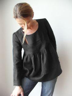 Bow Window fine linen blouse Dark Night by Isabel Amyo on Etsy