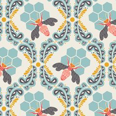 galleries, surface pattern, aqua blue, fabric online, art, textil, mornings, bee sweet, honey bees