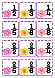 FREEBIE - Spring fractions matching cards