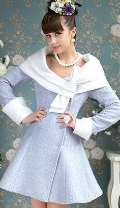 Jordana Swing Jacket (+ Sizes) Retro Blue and White Coat