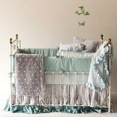 Bella Notte Linens Velvet & Whisper Linen Crib Set #babybedding #nursery #baby @LaylaGrayce