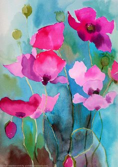 Poppies painting - watercolour ink poppies Water colour ink on paper .......... http://www.artweb.com/artwork/113977_poppies