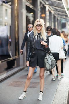 Hair short, skirt, models off duty, street fashion, fashion dresses, black outfits, street styles, leather jackets, shoe