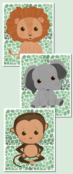 Baby Jungle Animals Wall Art Print Set - #Lion Print Elephant Print And Monkey Print - Green Decor For #Safari Themed Nursery Or Kid's Room. #http://www.acebabyfurniture.com/