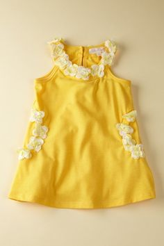 Yummy lemon yellow shift dress with floral appliques... white flowers, kids clothes, kid cloth, kids fashion, yellow shift, shift dresses, addi style, appliques, lemon yellow