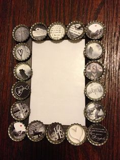 "Still wondering what to get your sweetie for Valentine's Day? Do you just need something creative to let that special someone know how much they mean to you? Steal their heart with this custom love picture frame! Frame holds 4""x6"" picture. Bottle cap pictures display various love phrases and photos. All it needs is your special picture to make it complete! Only 10 in stock!"