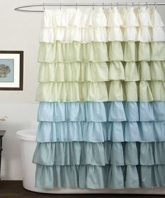 Loving this White & Blue Ruffle Shower Curtain on #zulily! #zulilyfinds