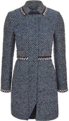 Matthew Williamson Blue Neon Tweed Embroidered Nehru Summer Coat