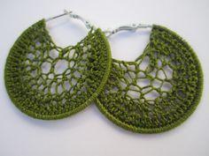 Green crochet hoop earrings!